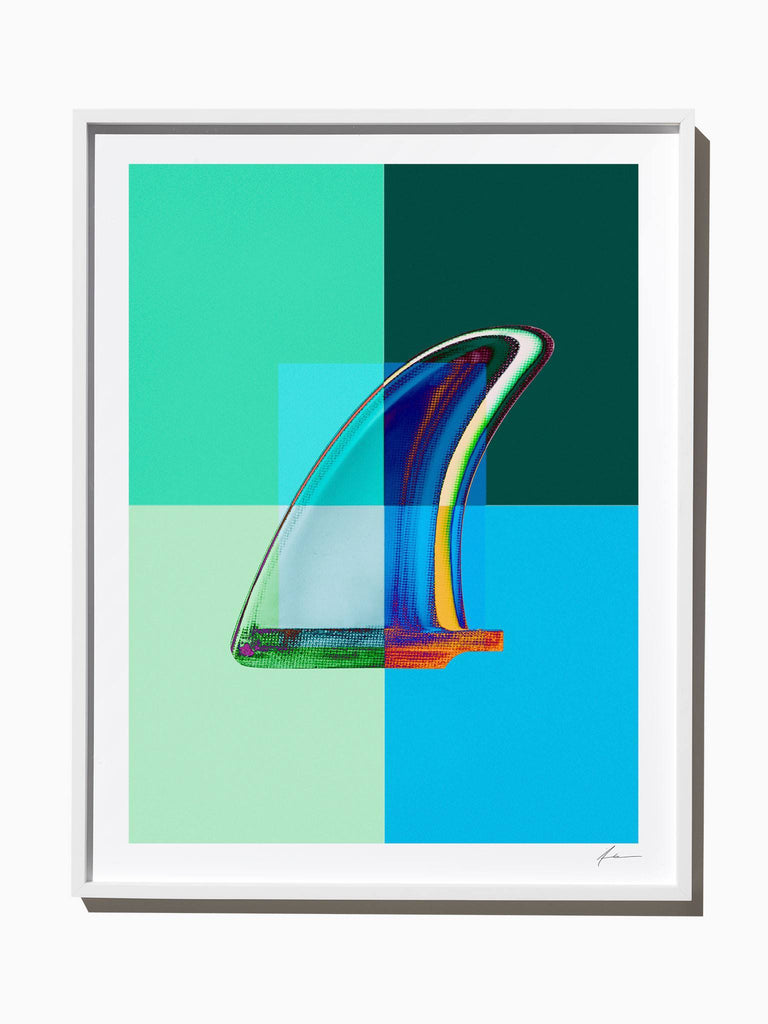 Fine Art Print - Interaction: Blue And Green Graphic Single Fin
