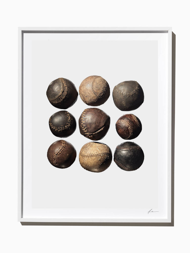 Fine Art Print - Vintage Baseballs, 9 Up.