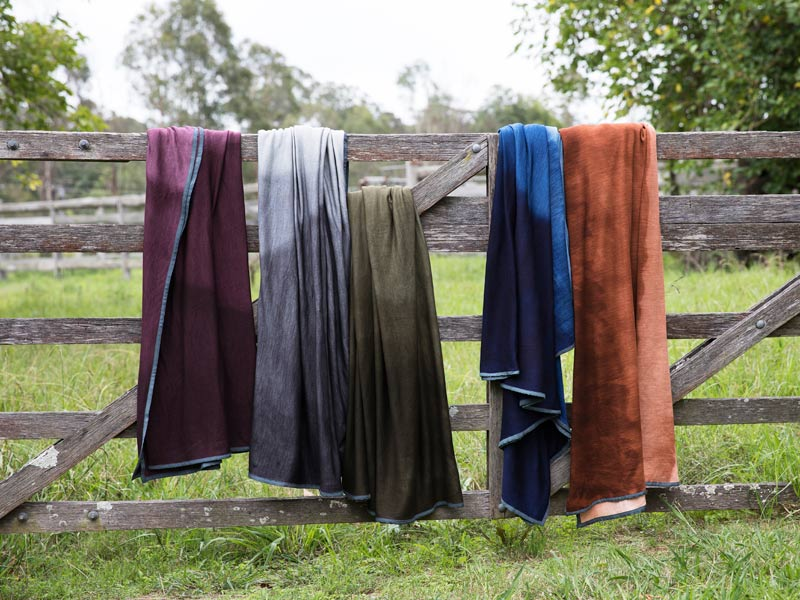 hand dyed pure Australian Love Merino wool throws