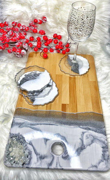 Resin Charcuterie Board with Coasters- Silver Variation