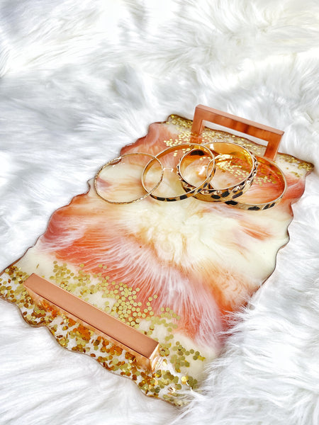 Resin Vanity Tray- Rose Gold Variation