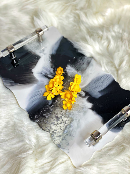Resin Vanity Tray- Black/White/Silver Variation