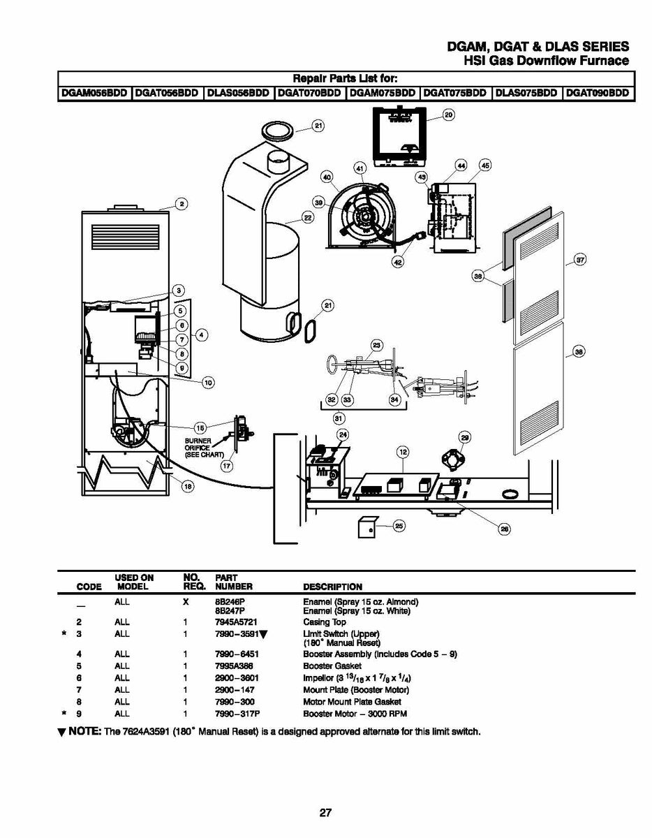 DGAT070BDC Coleman Gas Furnace Parts