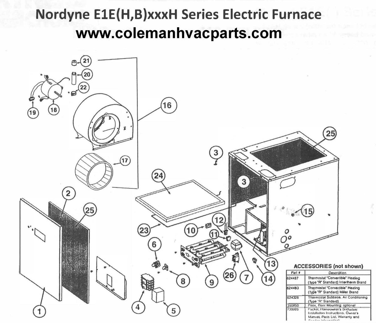 E1EH015H Nordyne Electric Furnace Parts – HVACpartstore on