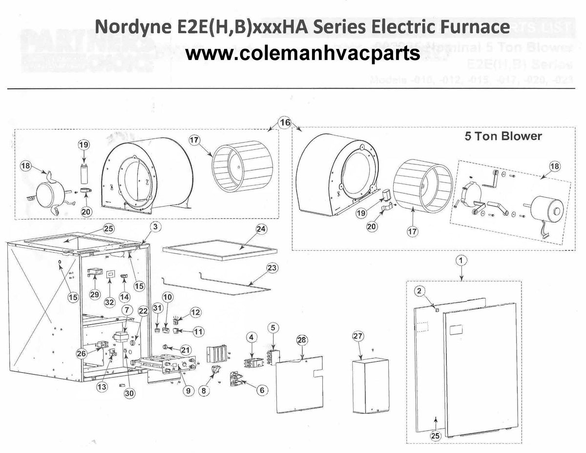 E2eh015ha Nordyne Electric Furnace Parts  U2013 Page 2  U2013 Hvacpartstore