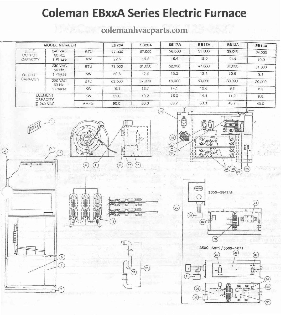 Eb15a Coleman Electric Furnace Parts Hvacpartstore