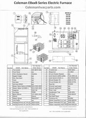 EB20B Coleman Electric Furnace Parts