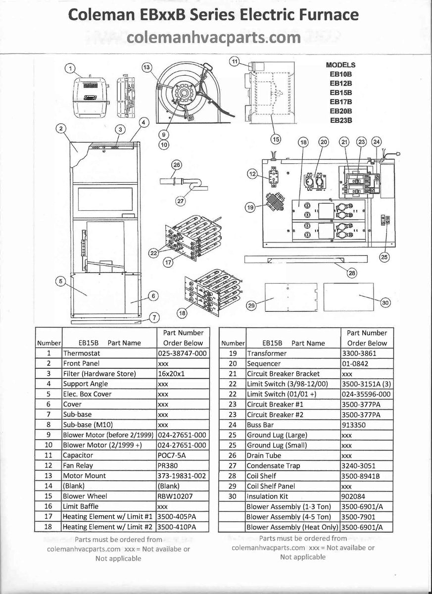 EB15B Coleman Electric Furnace Parts