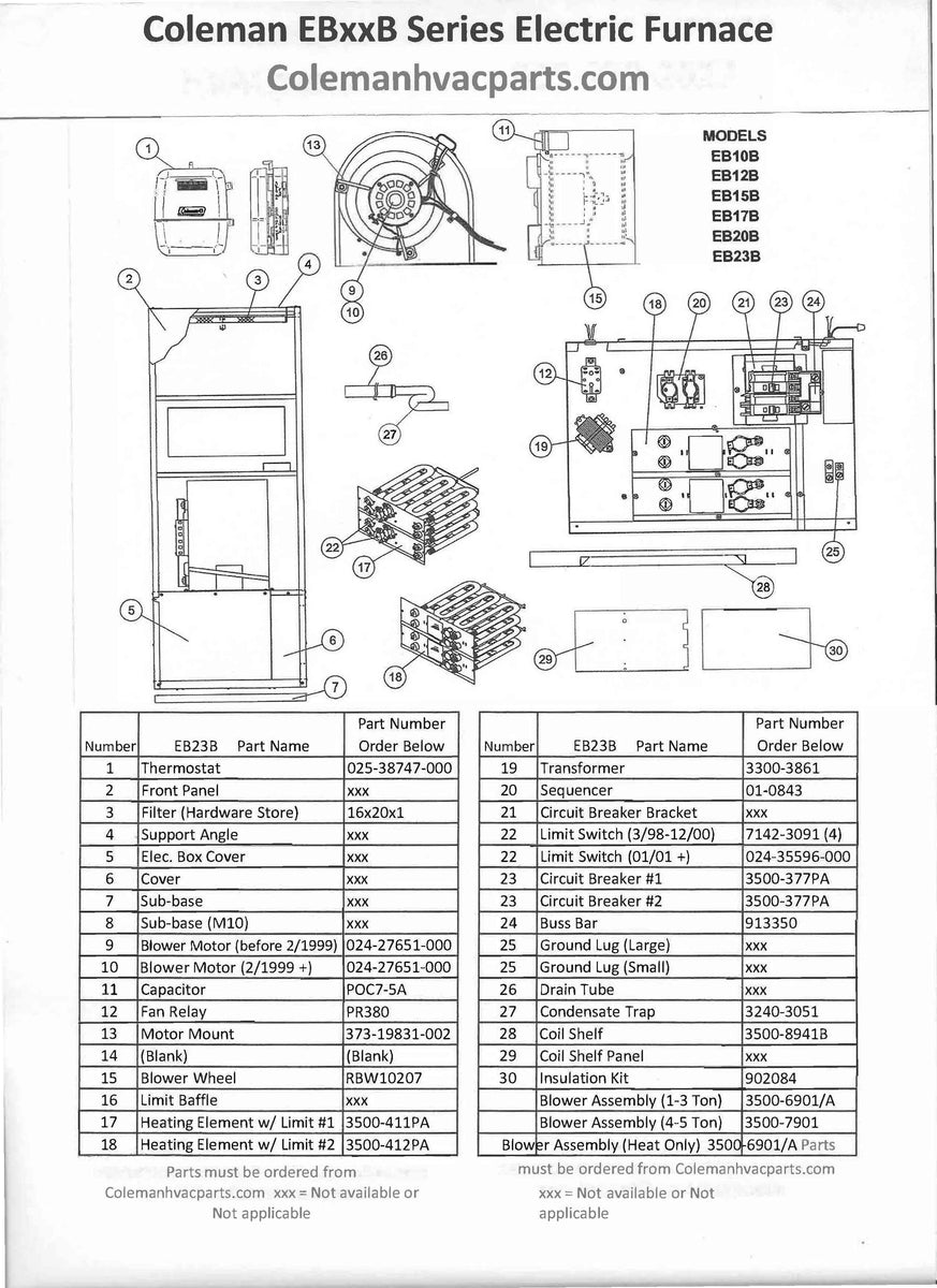 EB23B Coleman Electric Furnace Parts