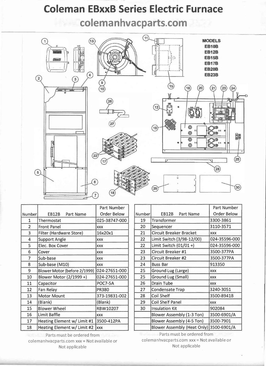 EB12B Coleman Electric Furnace Parts