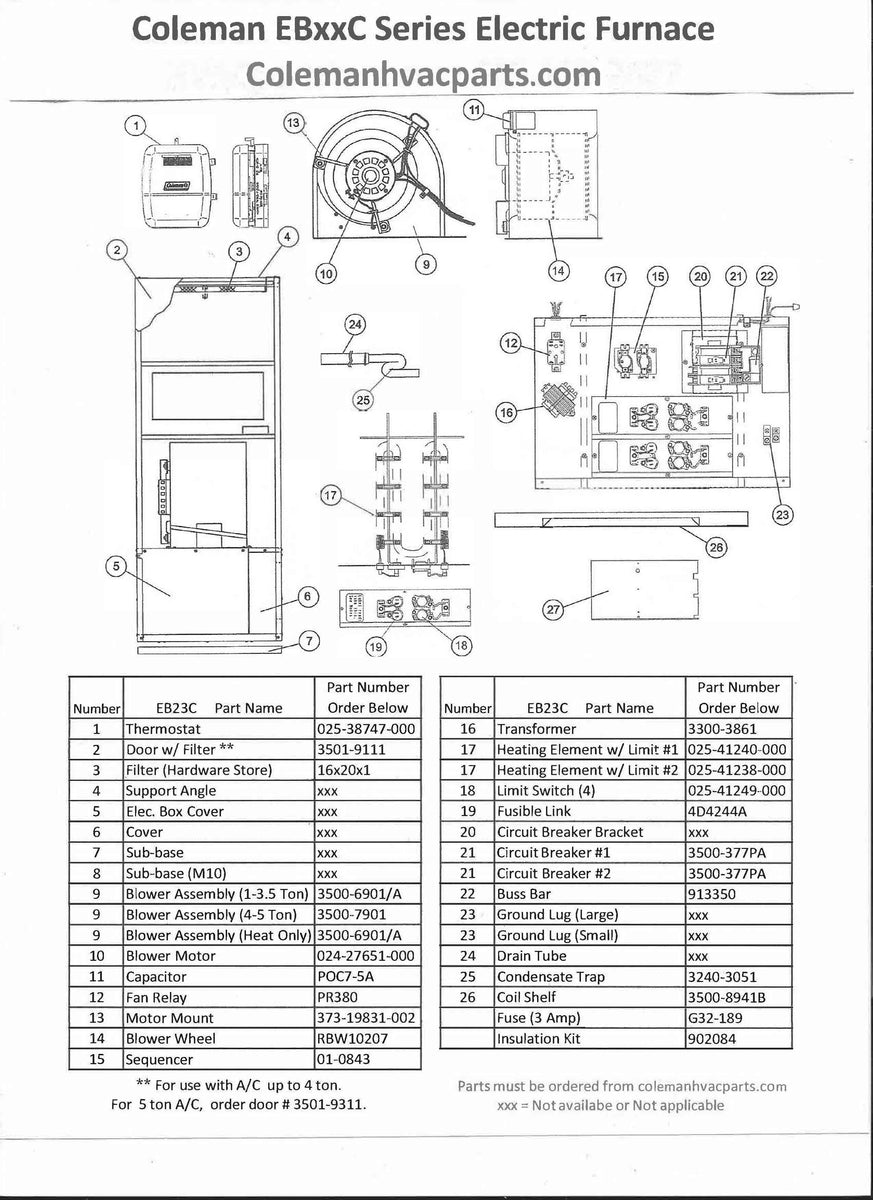 EB23C Coleman Electric Furnace Parts – Page 2