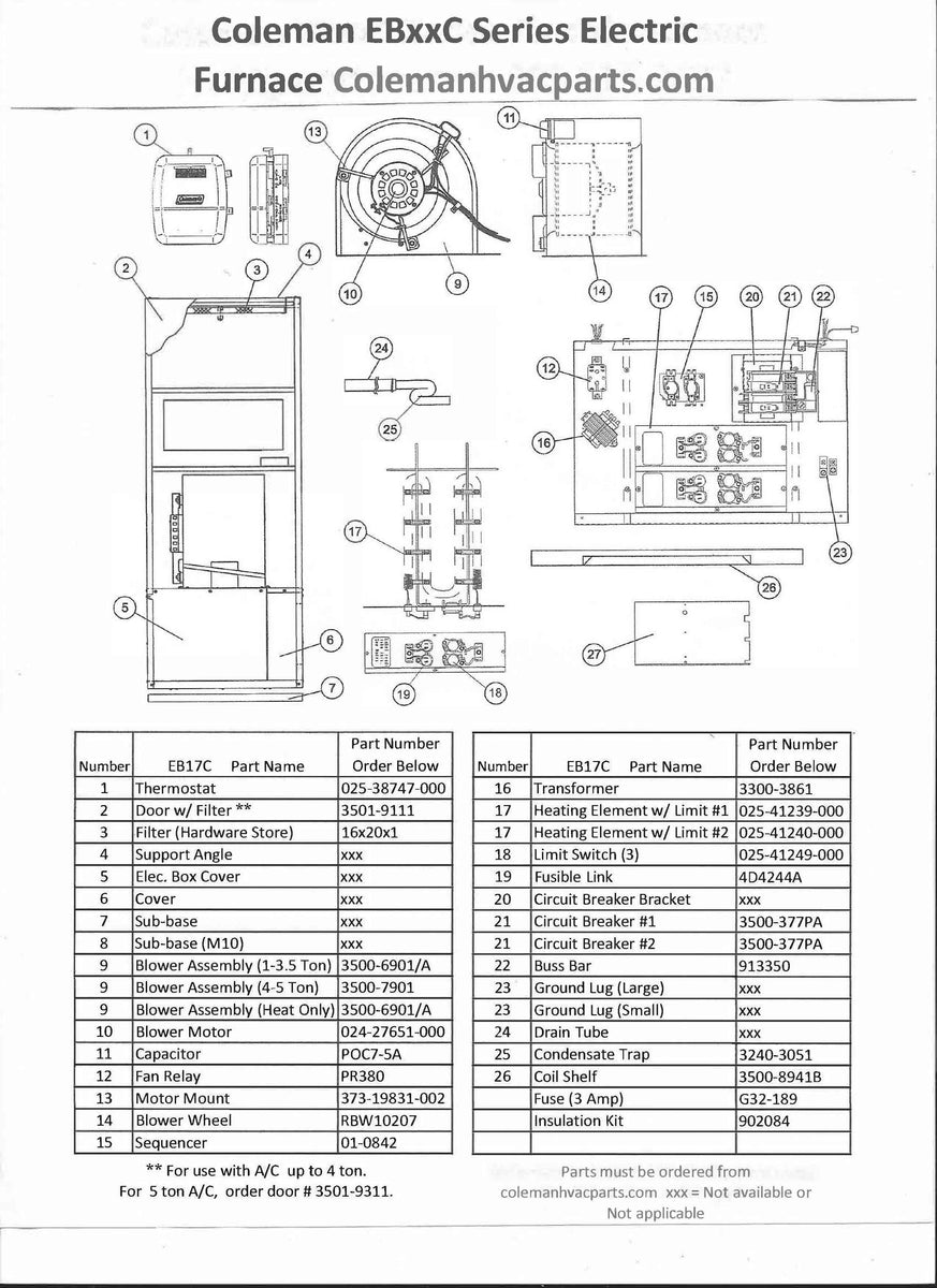 eb17c coleman electric furnace parts  u2013 hvacpartstore