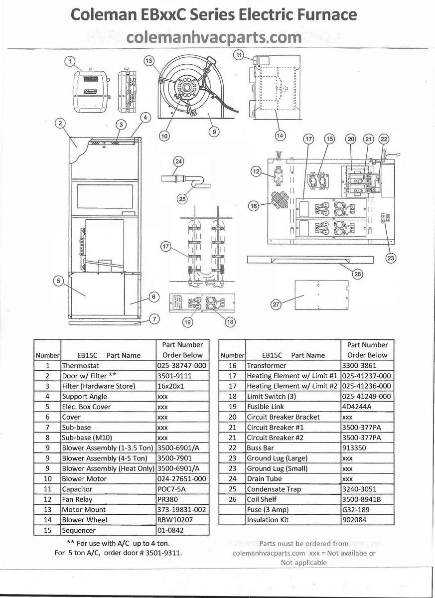 EB15C Coleman Electric Furnace Parts