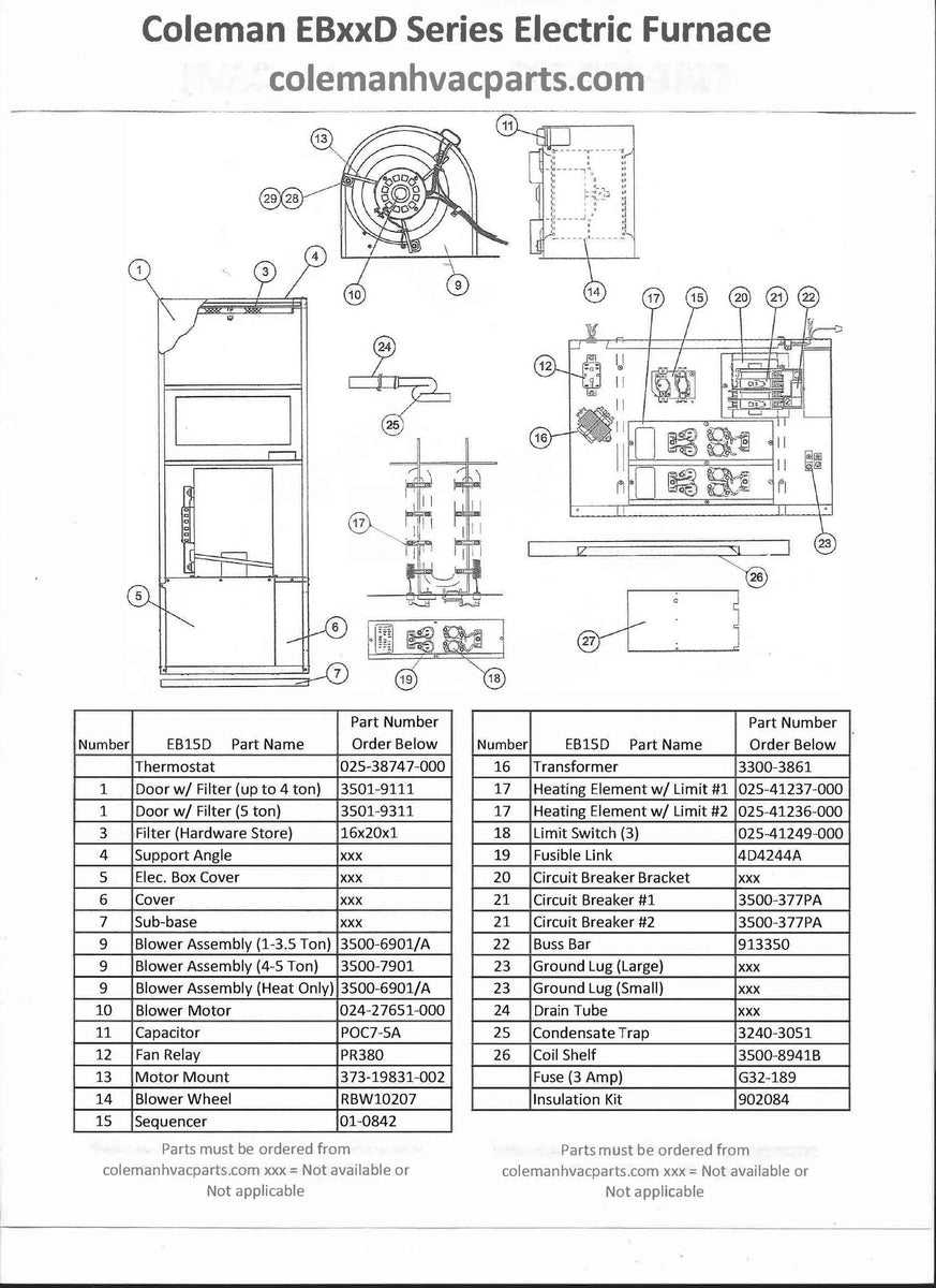 Eb15d Coleman Evcon Wiring Diagram Guide And Troubleshooting Of Furnace Board Electric Parts Hvacpartstore Rh Myshopify Com Eb12b