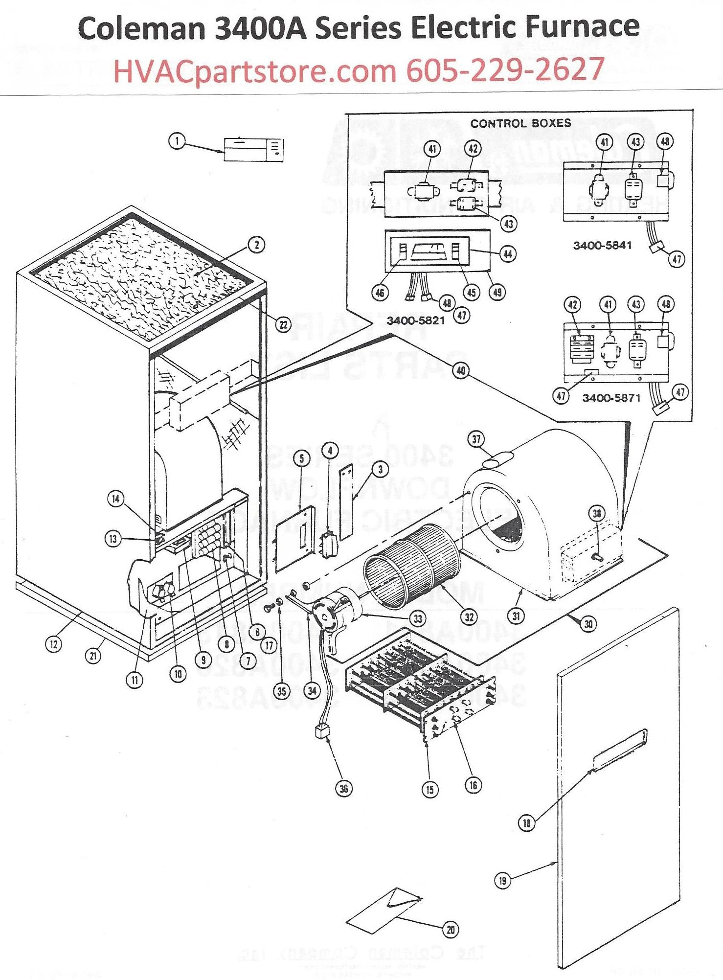3400a816 coleman electric furnace parts hvacpartstore coleman mobile home electric furnace wiring diagram coleman electric furnace diagram #1