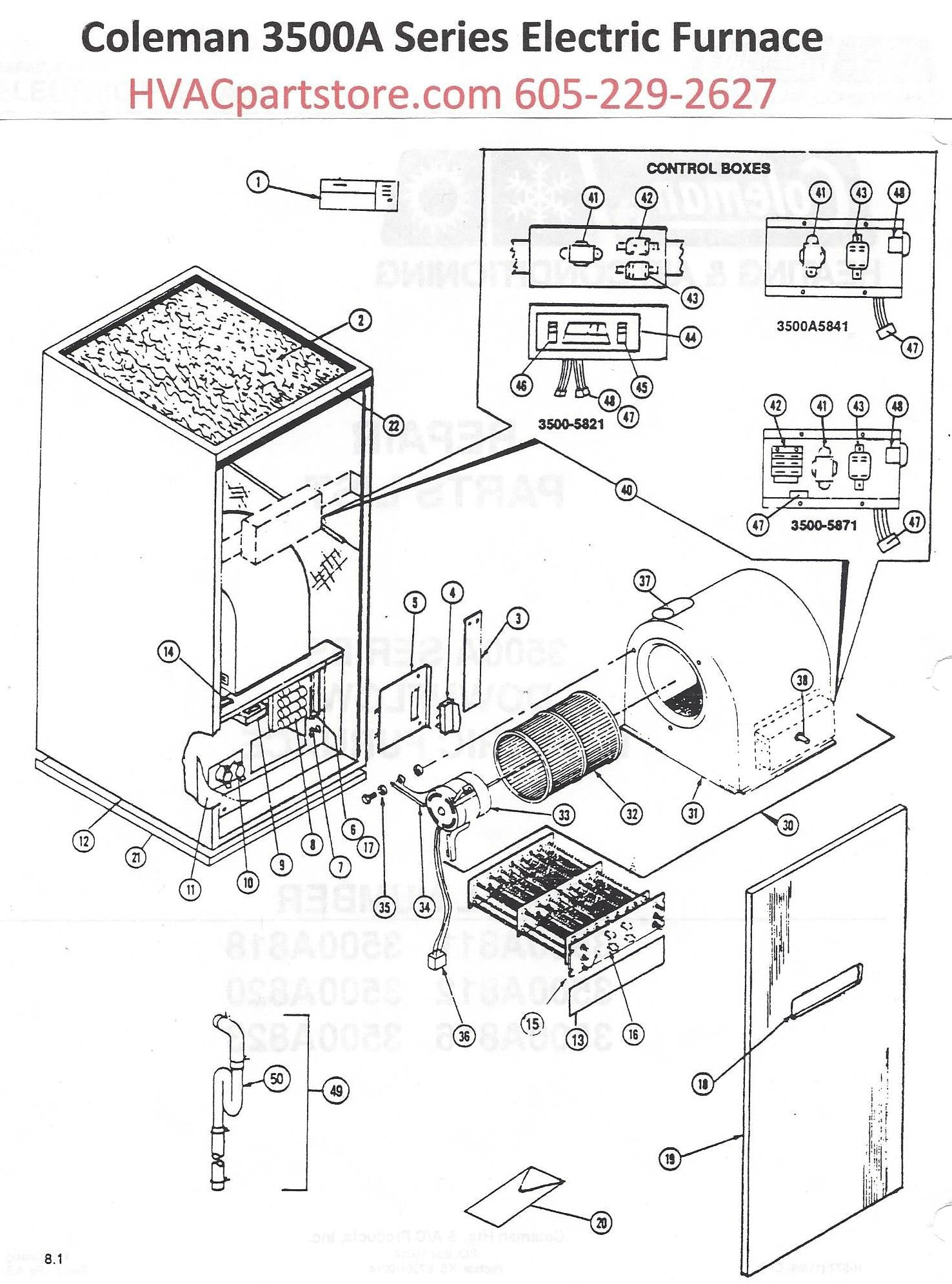 3500a818 coleman electric furnace parts hvacpartstore  wiring diagram electric furnaces coleman furnace #10