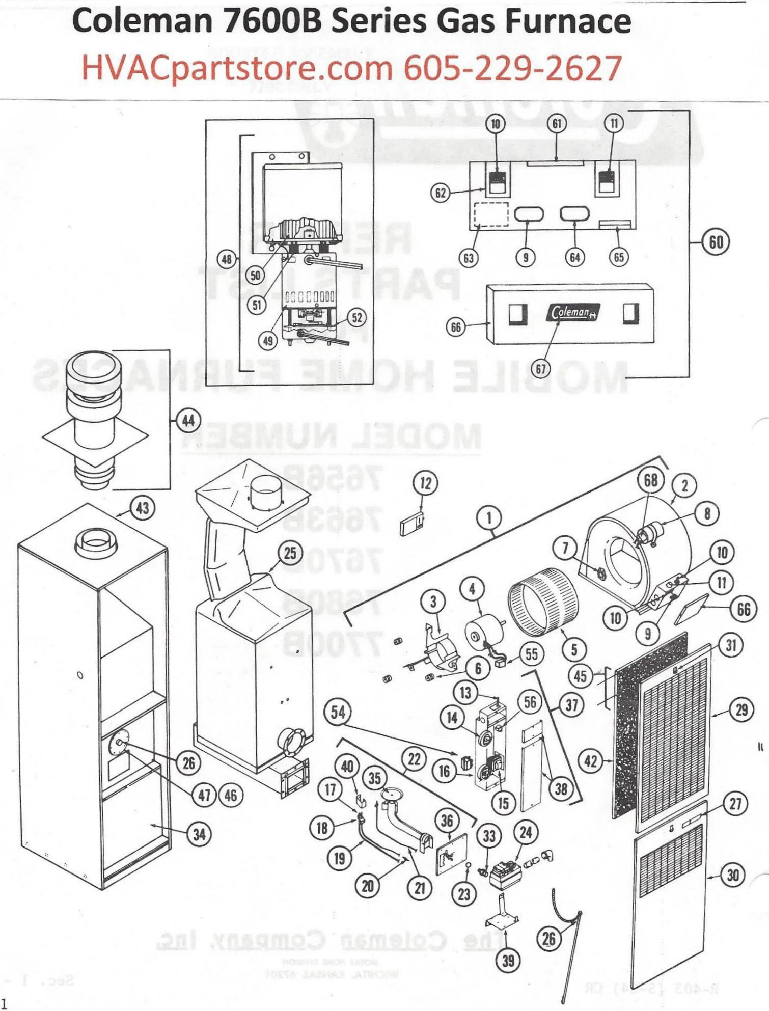 7600BDiagram?3087977773874111912 7656b856 coleman gas furnace parts hvacpartstore coleman furnace wiring diagram at crackthecode.co