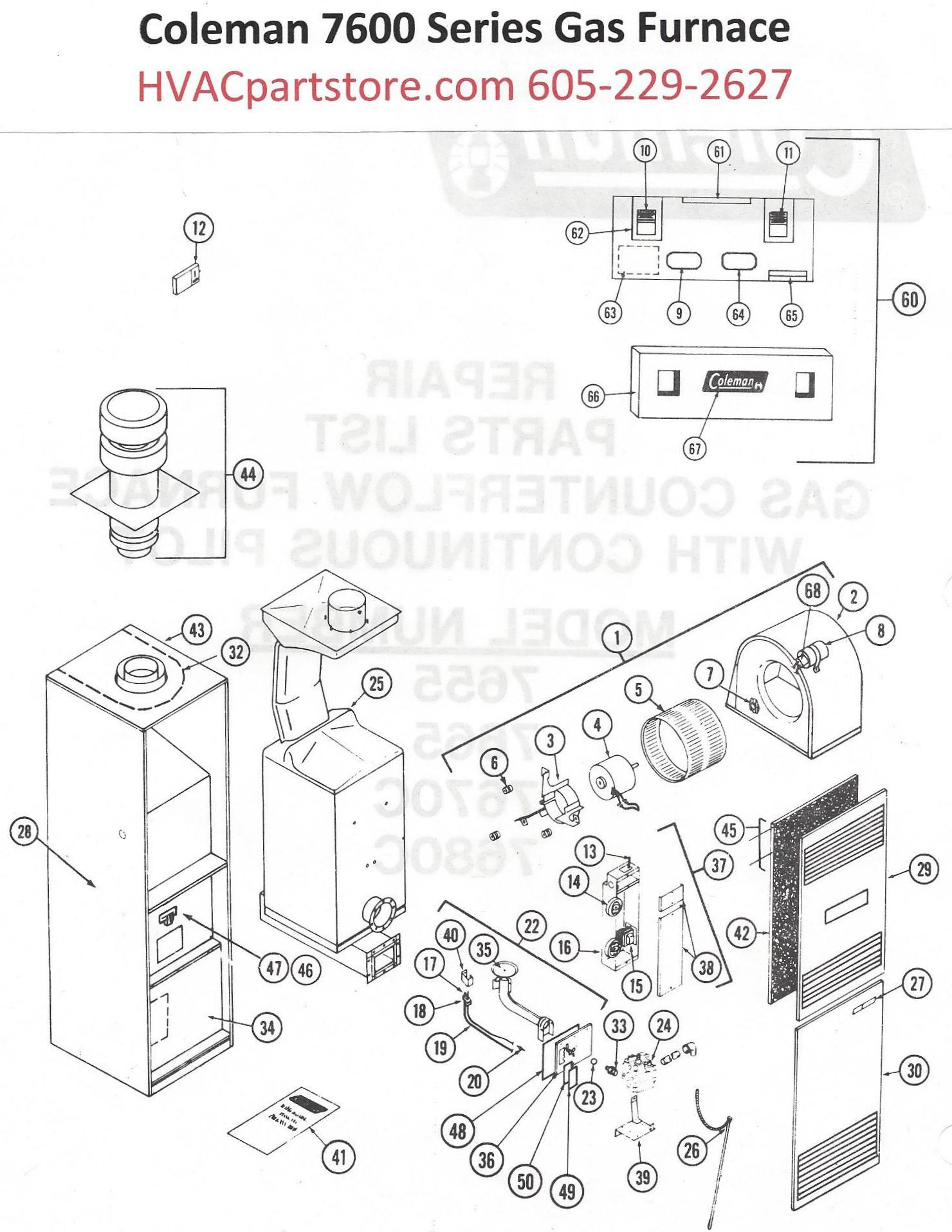 Wiring Diagram Coleman Furnace 7665 856 Data Older Sequecer 7655 Gas Parts Hvacpartstore Electric Sequencer