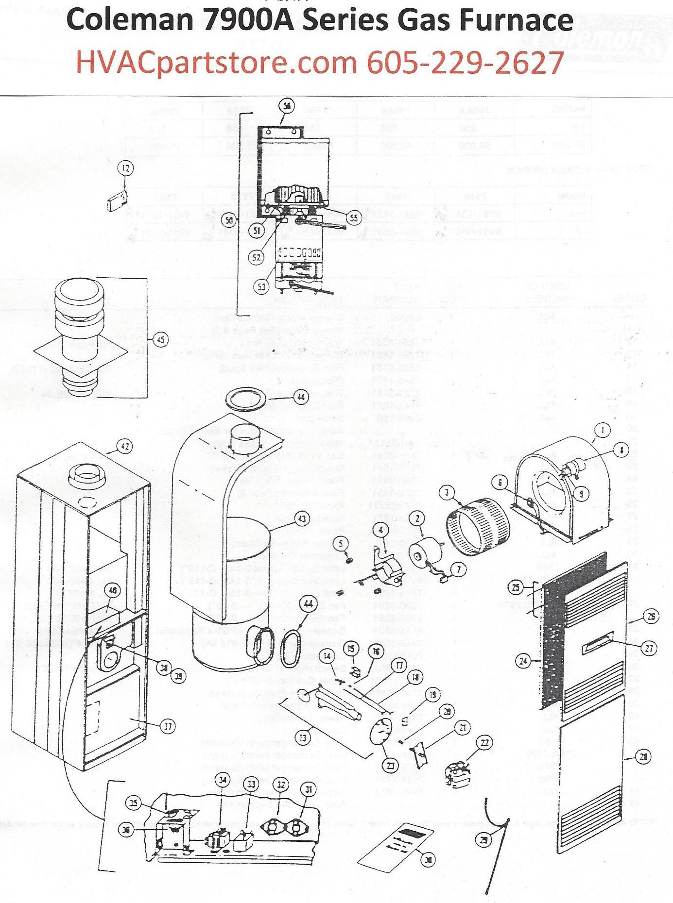 7956a856 coleman gas furnace parts hvacpartstore natural gas to propane schematic propane furnace schematic #12