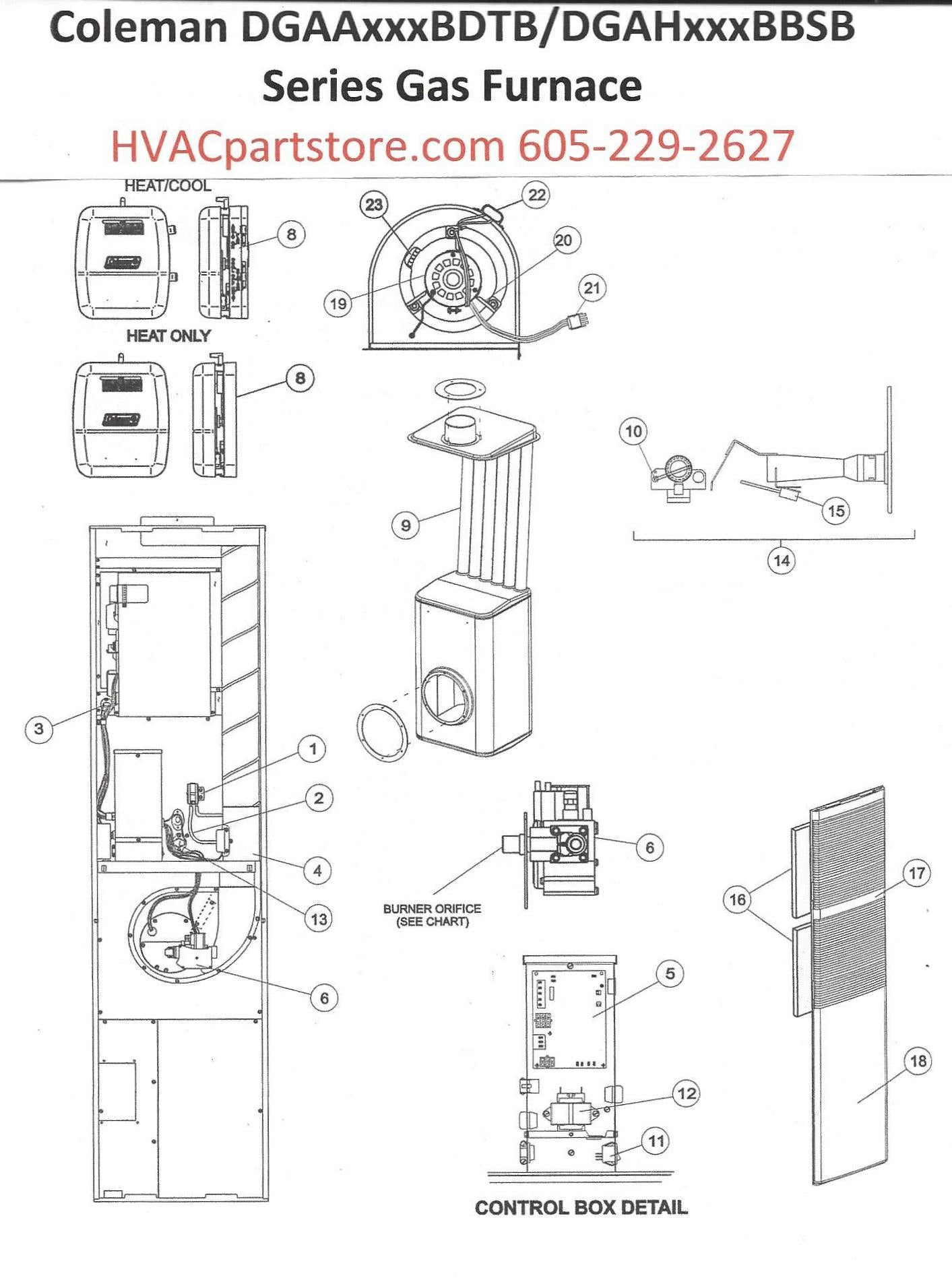 Coleman Gas Furnace Diagram Wiring Pictures Thermostat Dgaa077bdtb Parts Hvacpartstore Rh Myshopify Com Schematic