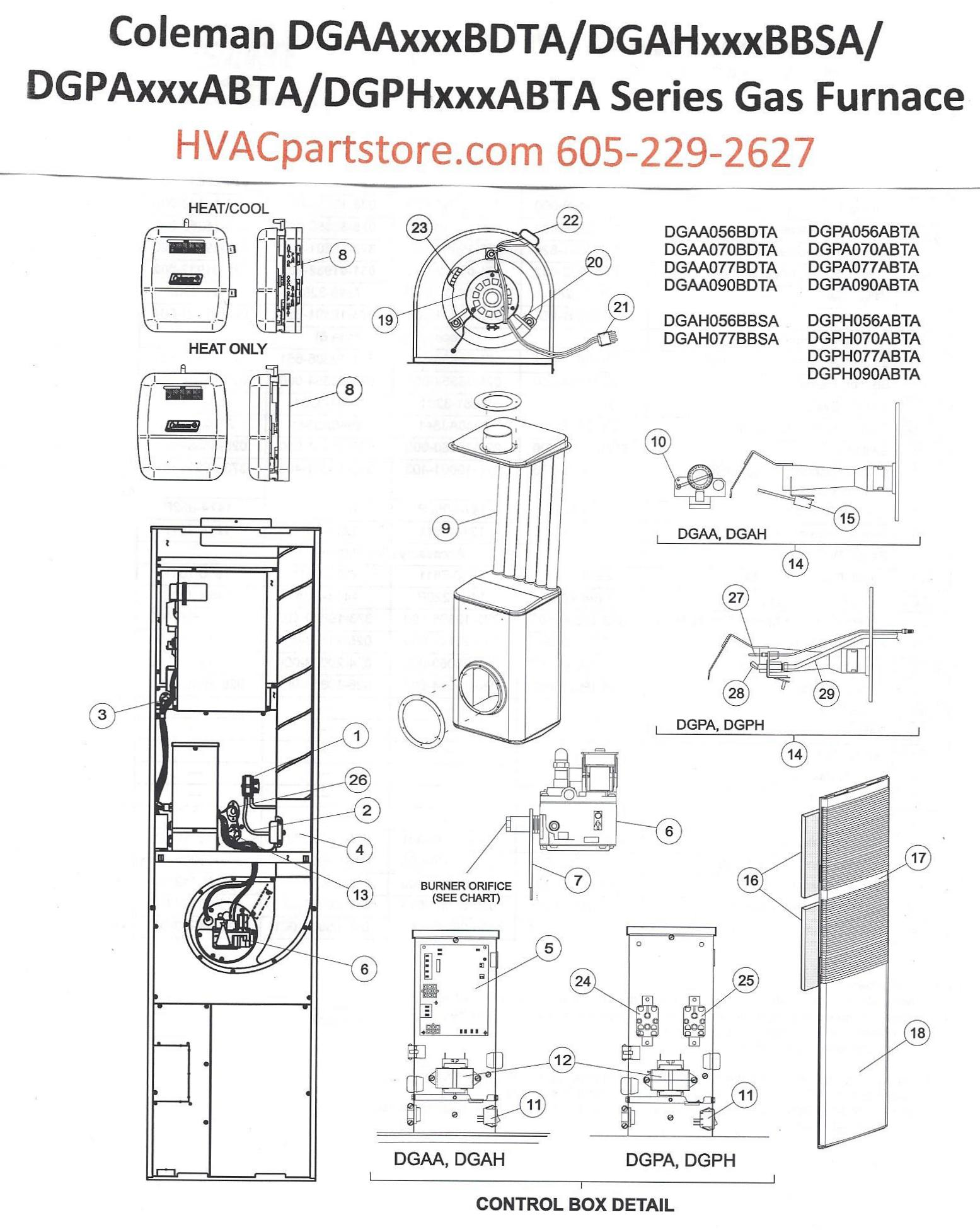 coleman dual fuel wiring diagram dgah056bbsa coleman gas furnace parts – tagged