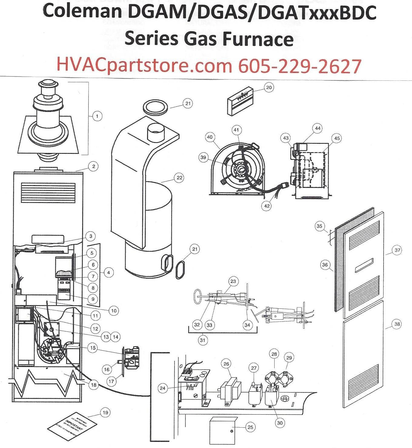 dgat056bdc coleman gas furnace parts hvacpartstore rv lp gas regulator propane furnace schematic #2