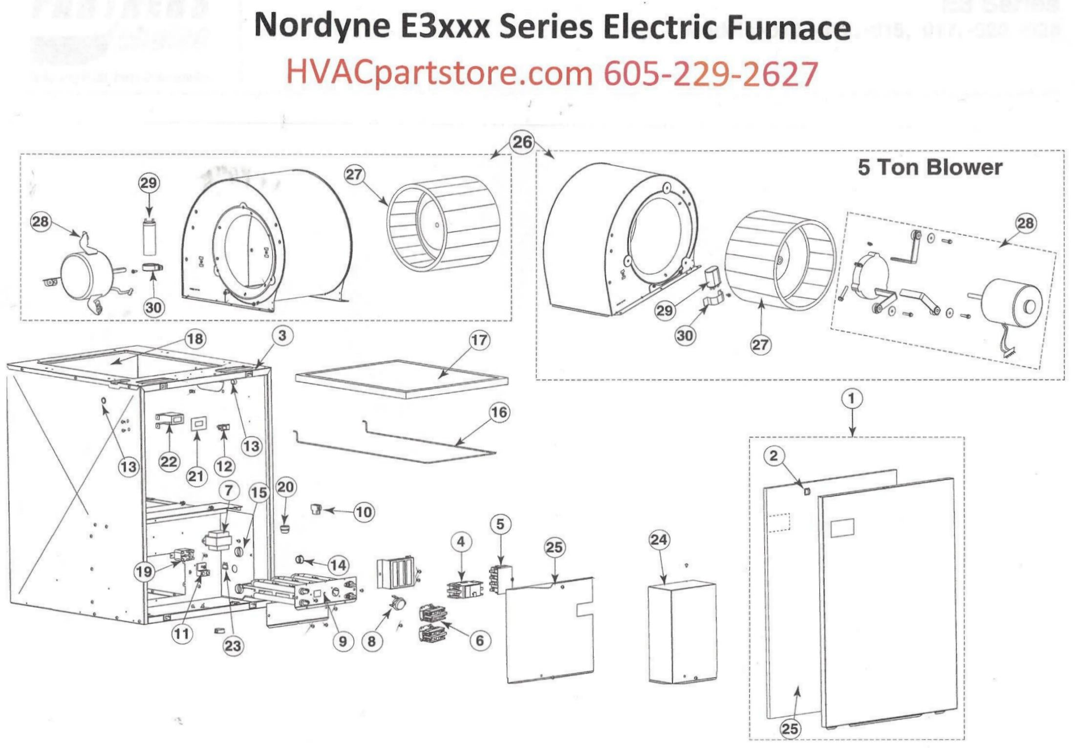 E3015 Nordyne Electric Furnace Parts
