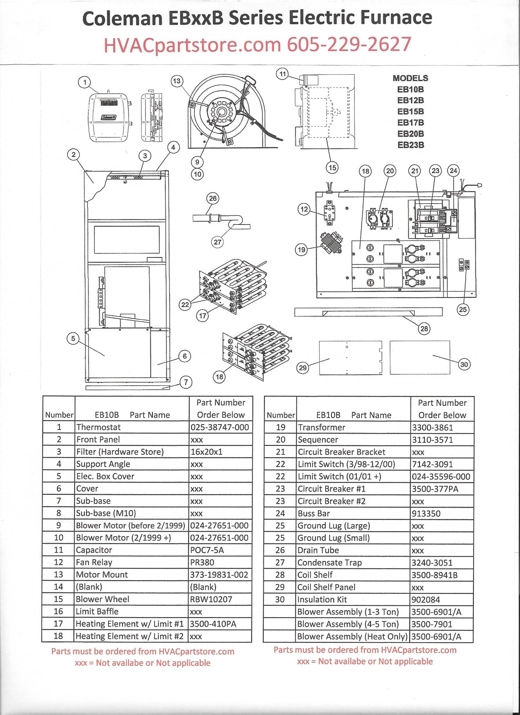 EB10B Coleman Electric Furnace Parts