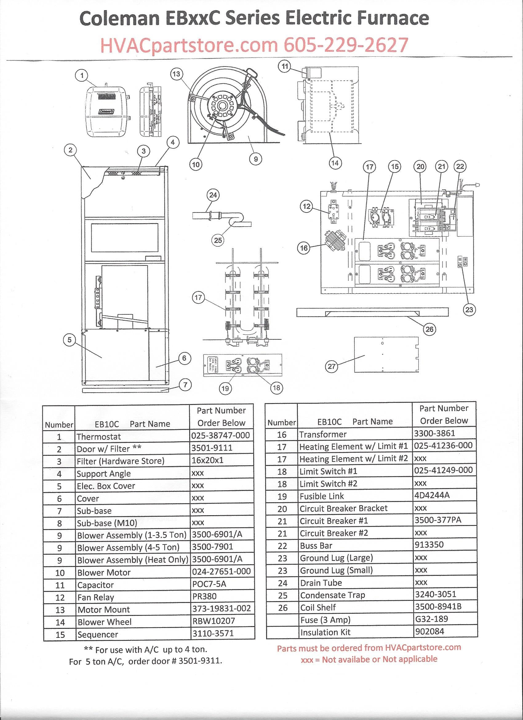 EB10C Coleman Electric Furnace Parts
