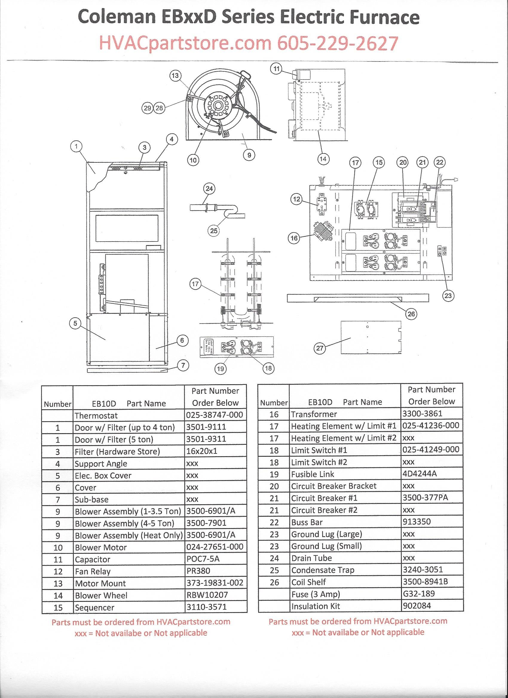 coleman mobile home electric furnace wiring diagram coleman eb10d coleman electric furnace parts hvacpartstore on coleman mobile home electric furnace wiring diagram