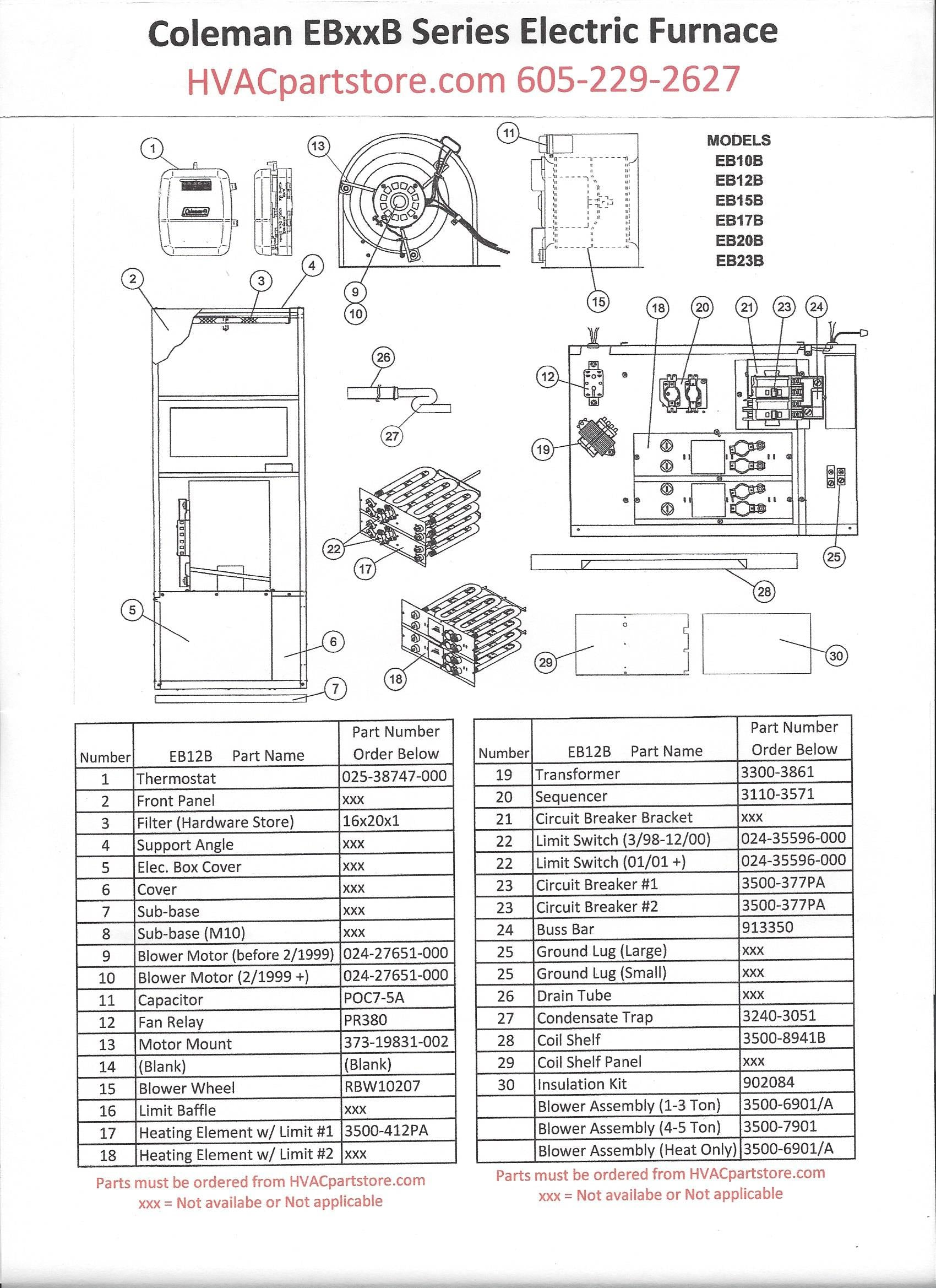 eb12b coleman electric furnace parts  u2013 hvacpartstore