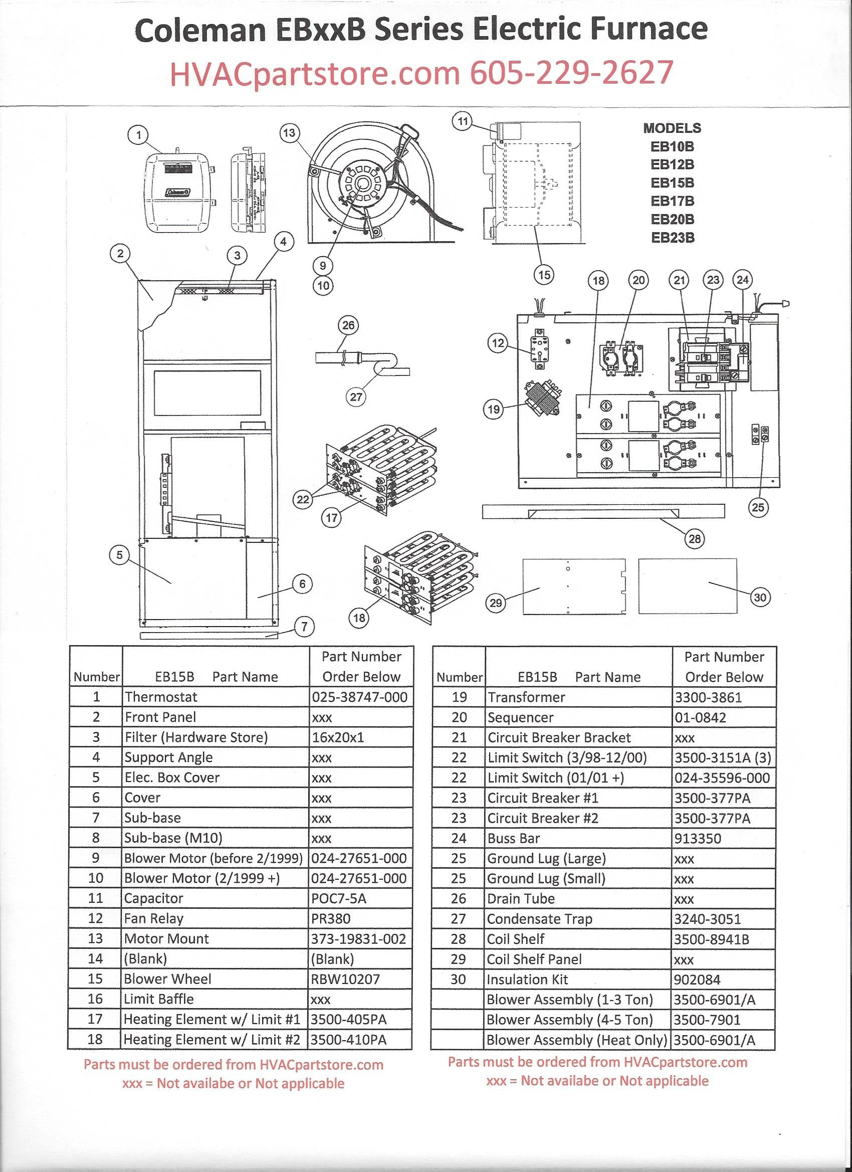 eb15b coleman electric furnace parts hvacpartstore central electric furnace model eb15b coleman eb15b furnace wiring diagram #2