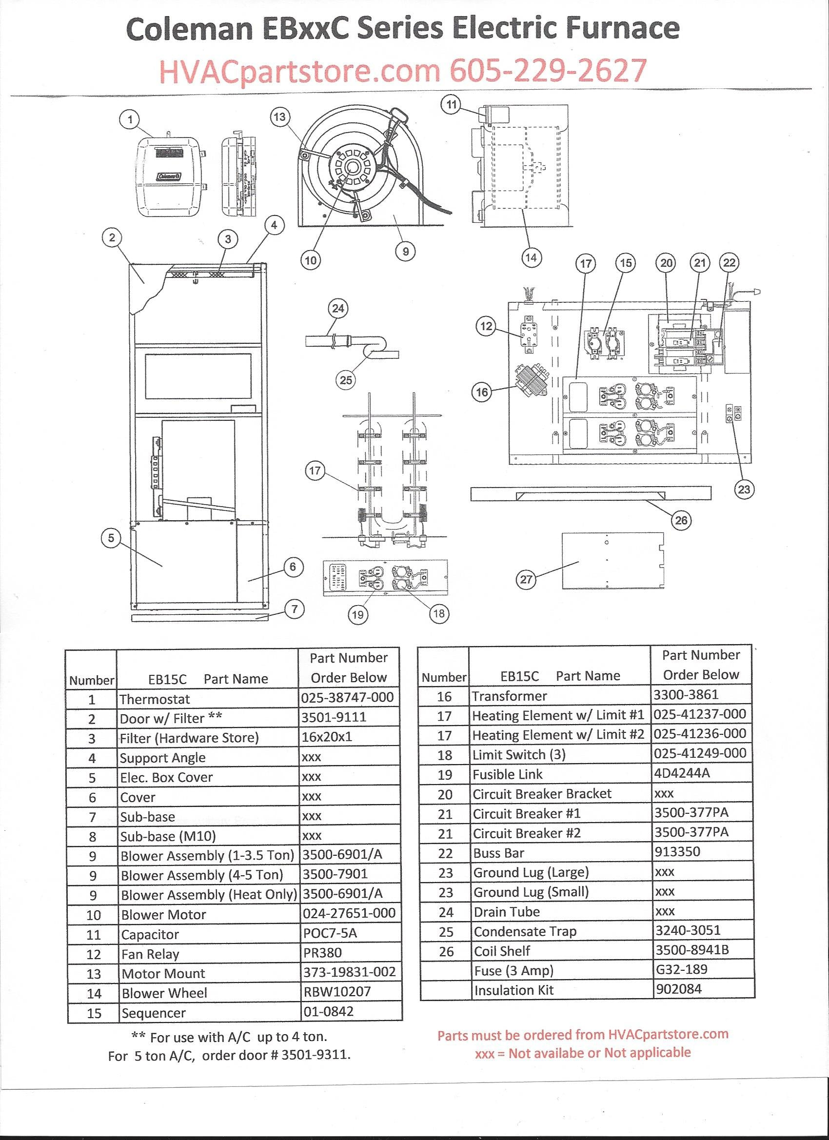 eb15c coleman electric furnace parts hvacpartstore rh hvacpartstore myshopify com Mobile Home Furnace Wiring Diagram coleman evcon electric furnace wiring diagram