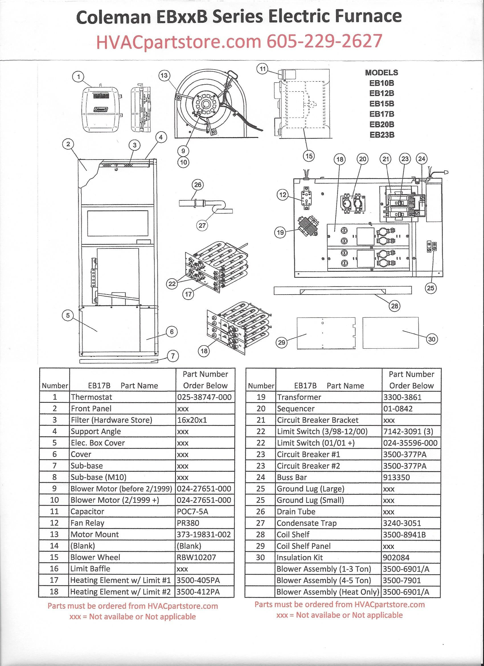 EB17B Coleman Electric Furnace Parts