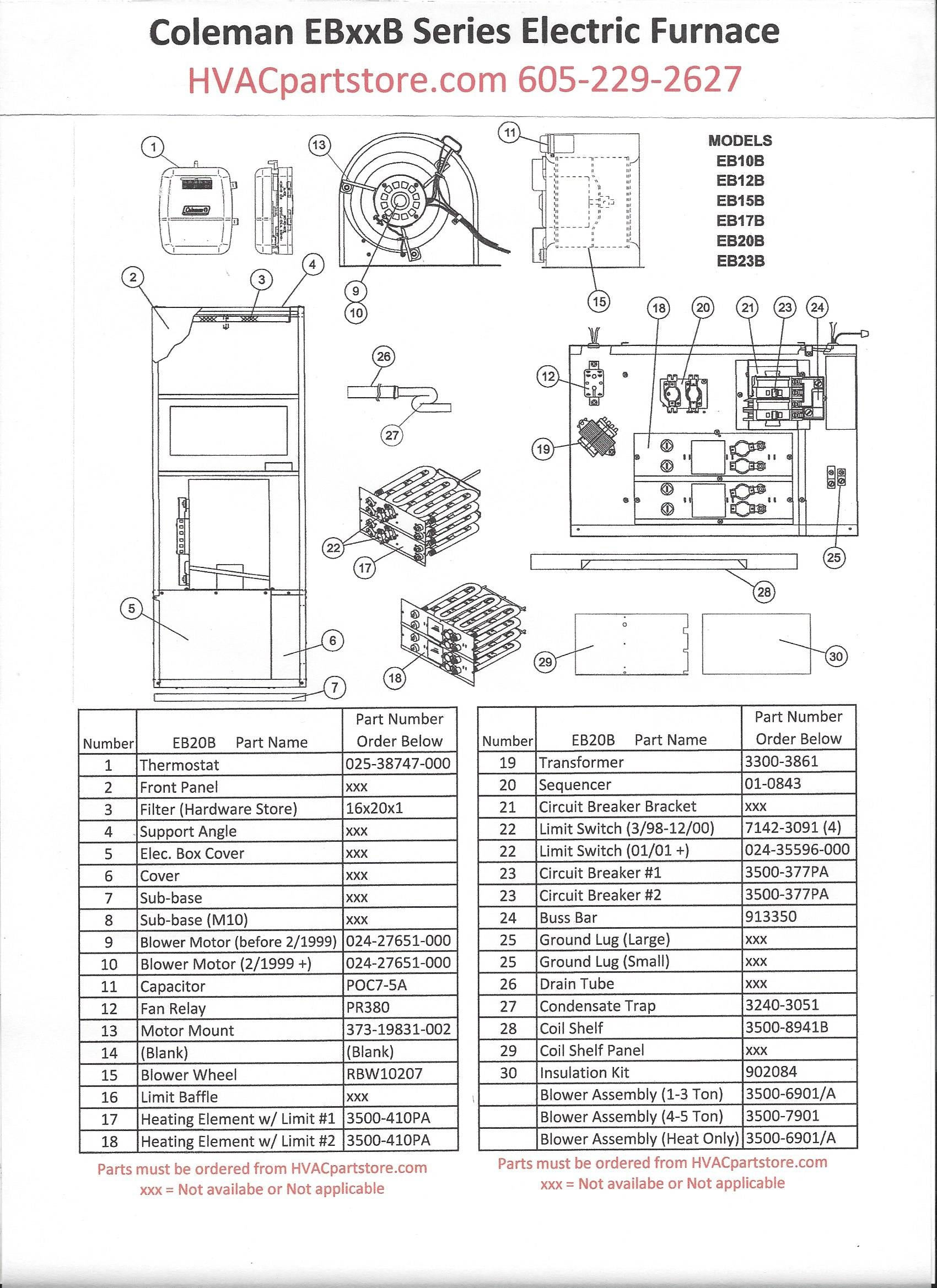 EB20Bparts?176317081085555281 eb20b coleman electric furnace parts hvacpartstore coleman furnace wiring diagram at bayanpartner.co