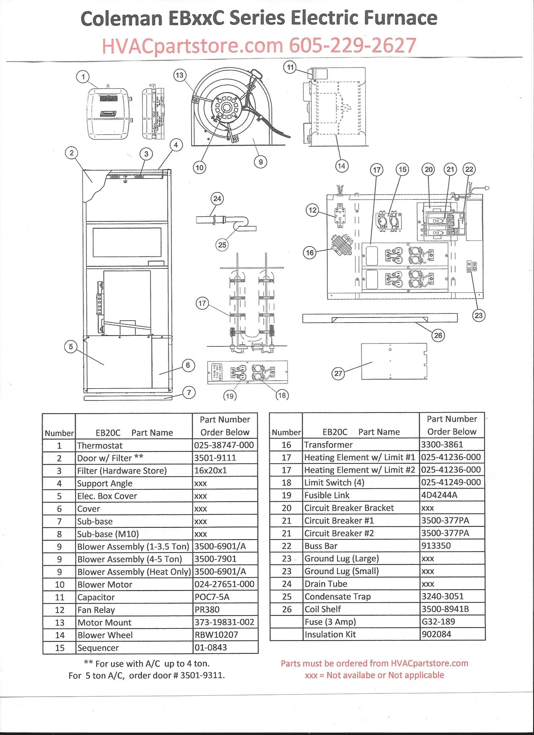 eb20c coleman electric furnace parts hvacpartstore coleman electric furnace diagram coleman electric furnace diagram #2