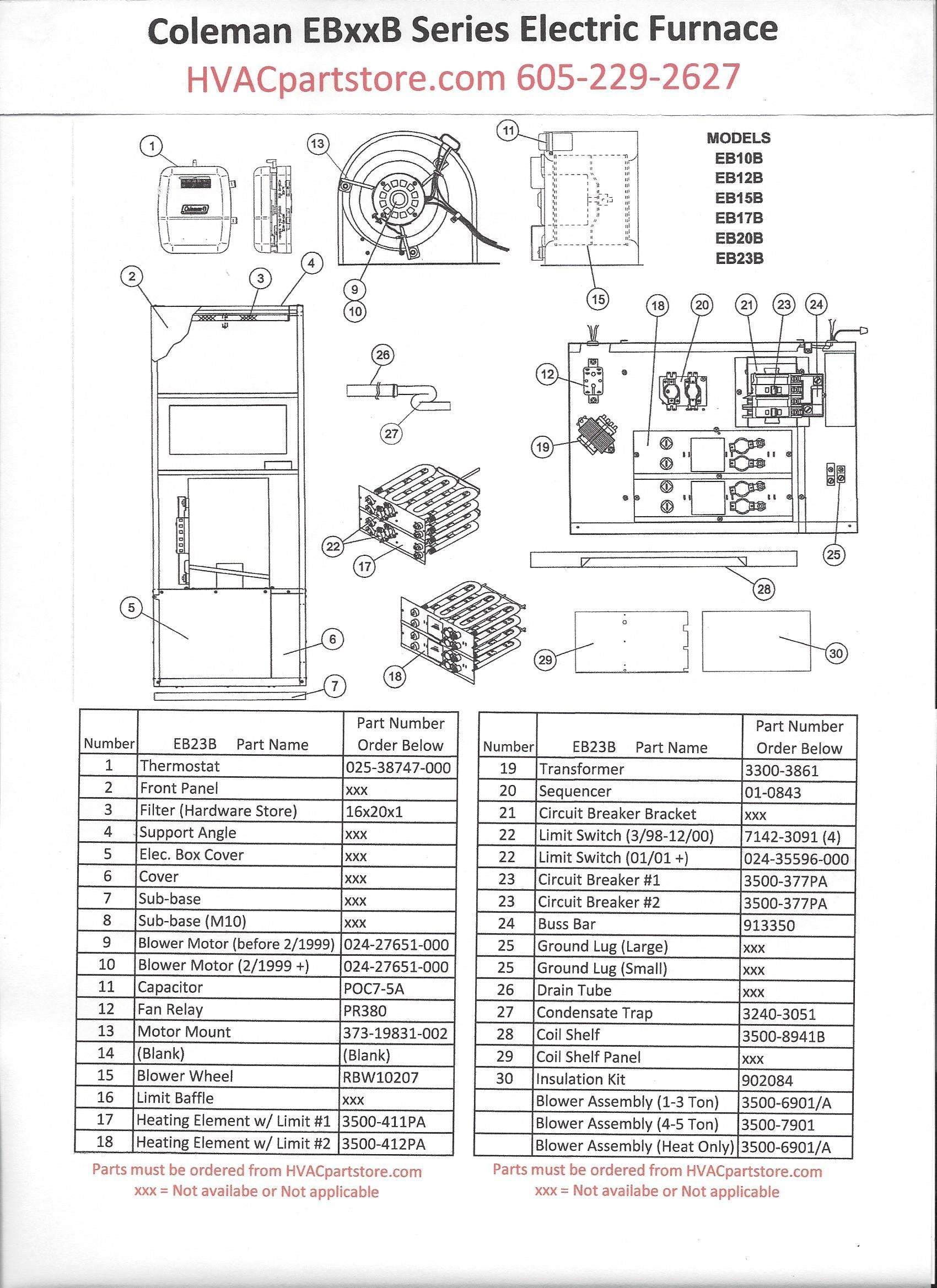 Eb23b Coleman Electric Furnace Parts  U2013 Hvacpartstore