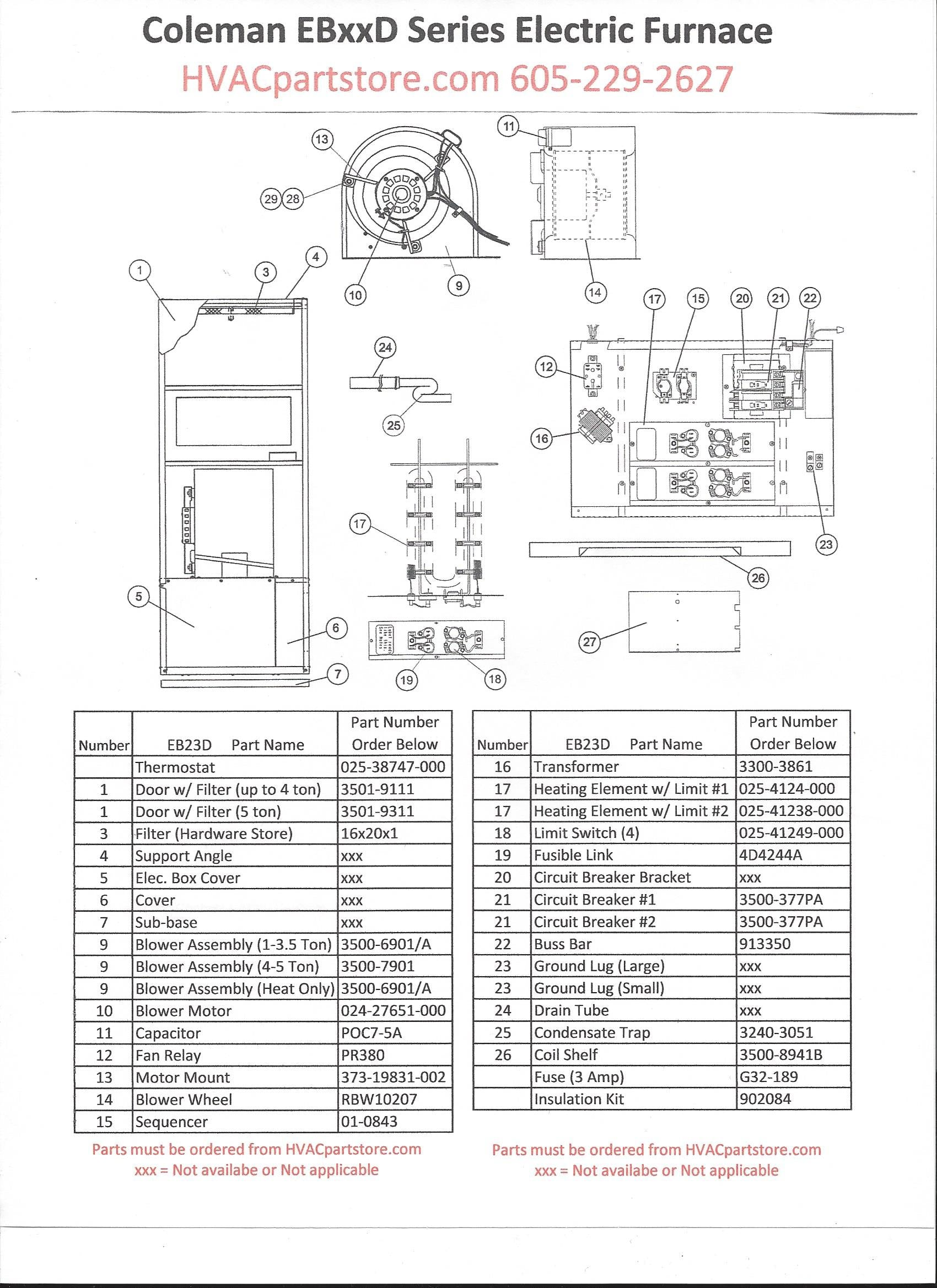 EB23Dparts coleman electric furnace wiring diagram dolgular com coleman evcon electric furnace wiring diagram at eliteediting.co