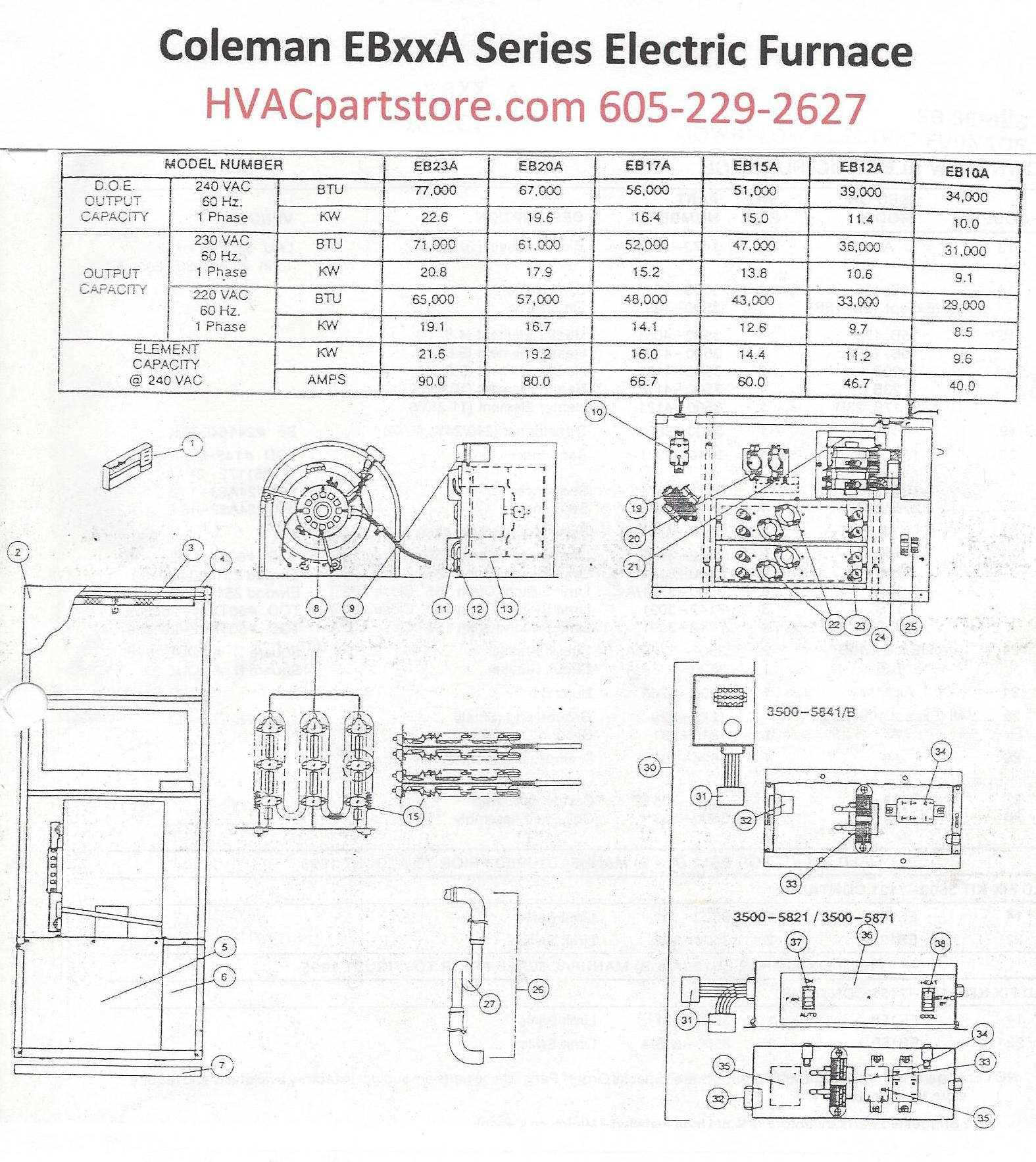 EB23A Coleman Electric Furnace Parts – HVACpartstore