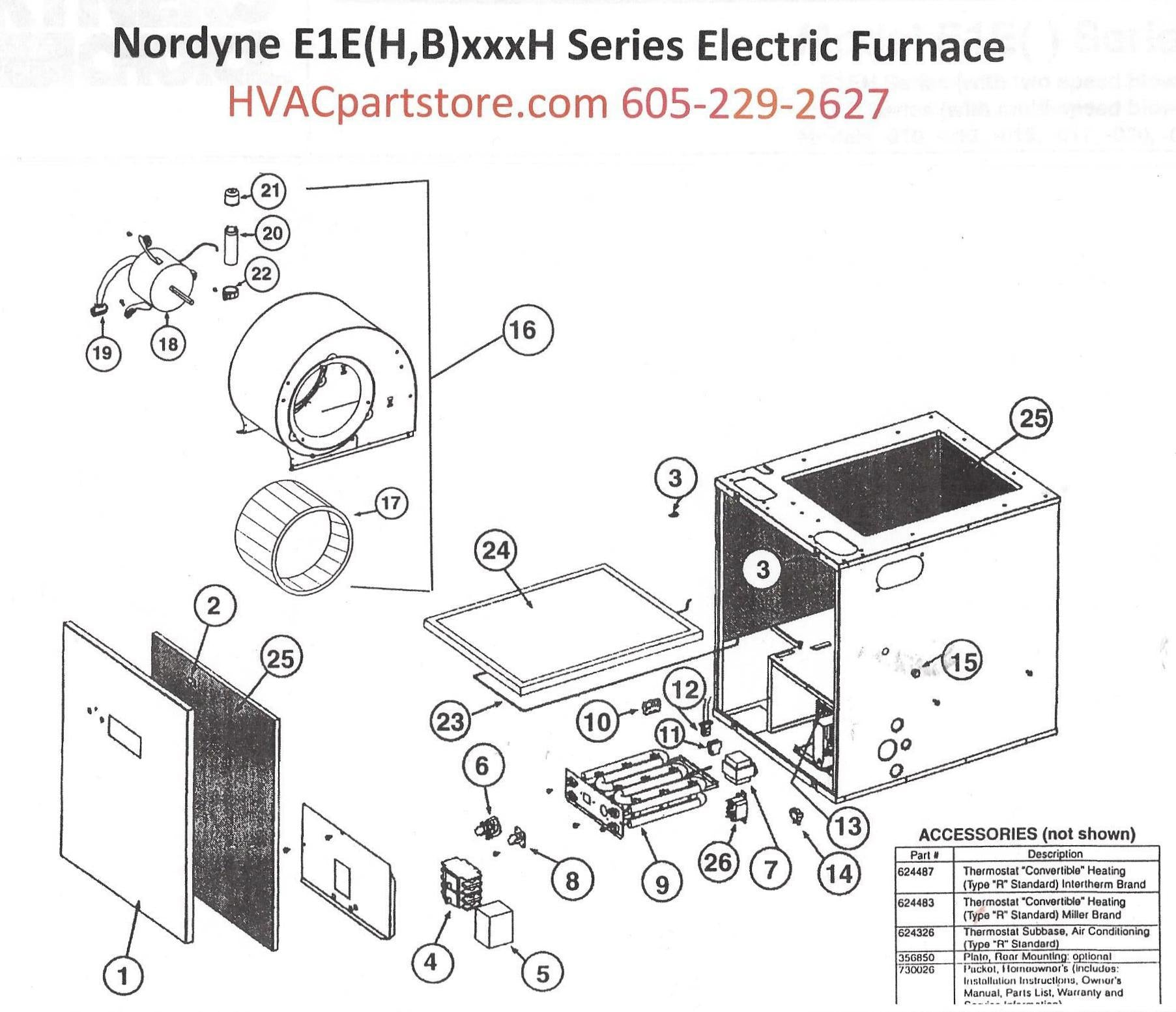 E1EH020H Nordyne Electric Furnace Parts
