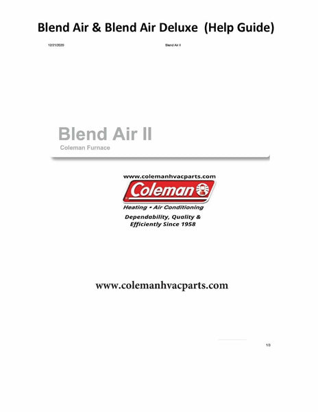 Blend Air & Blend Air Deluxe II Manual, Trouble Shoot Guide, Parts Breakdown
