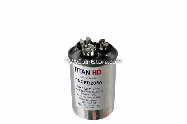 USA made dual round 20+5 mfd high quality 370-440v metal run capacitor
