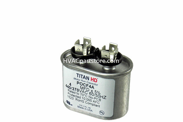 High quality metal oval run capacitor 4 MFD 370-440V USA Made