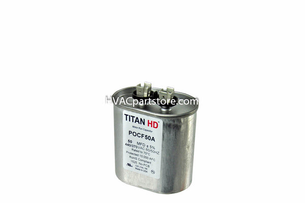 oval high quality metal run capacitor 50 MFD 370-440V