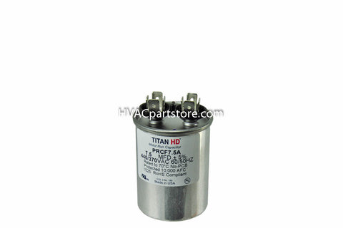 Round high quality metal run capacitor 7.5 MFD 370-440V