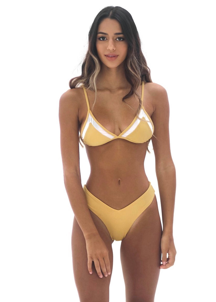 Arlo Mesh Top | Golden Yellow - Mahina Swimwear