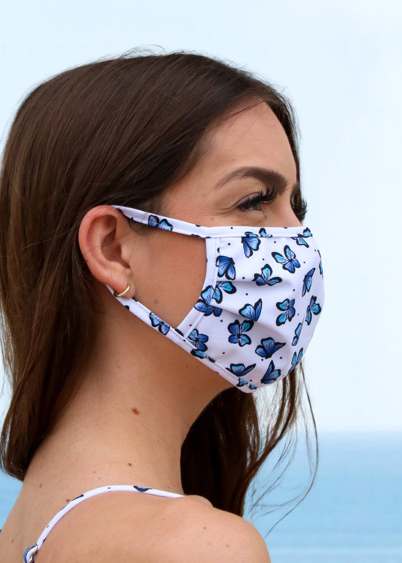 Butterfly Print Face Mask - Mahina Swimwear