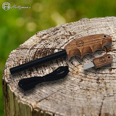 Wood Handle Fire Starter Ferro Rod Gift Set W/Finger Grip Survival Bushcraft Gear (Light Brown)