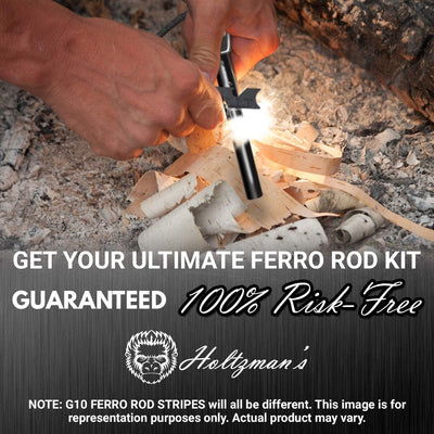 "Premium Ferro Rod Fire Starter Kit W/ G10 Handle - Heavy Duty 4 1/2"" Ferrocerium Rod Survival Magnesium Flint and Steel Set with Paracord & Scraper - Lightweight Emergency Camping Tool"