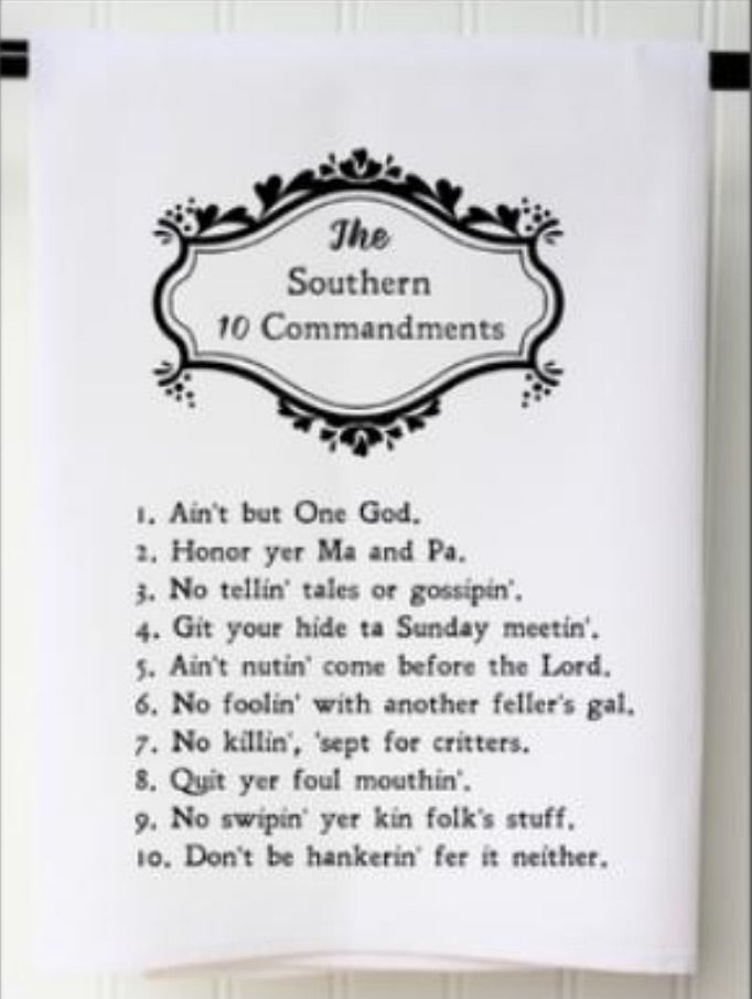 Southern 10 Commandments Flour Sack Towel